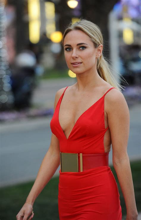 Kimberley Garner in a Slinky Red Dress at Plage Royale in