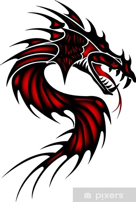 Tattoo red dragon Sticker • Pixers® - We live to change