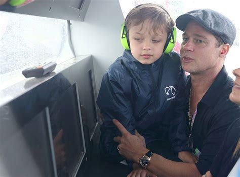 Brad Pitt Brings Son Knox, 7, to the Race Track—See Photos