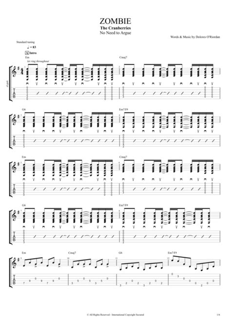 Zombie by The Cranberries - Full Score Guitar Pro Tab